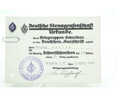 Tysk ww2 udmærkelse for stenograf - med eftertragtet nål - ses ikke så tit - 100 % original