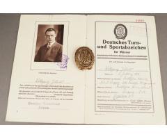 WW1/WW2 DRA Sportabzeichen i GULD! Inkl. Urkunde til bronze. ORIGINALT